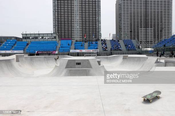 This photo shows a general view of the park skateboarding venue during a test event for Tokyo 2020 Olympic Games at the Ariake Urban Sports Park in...