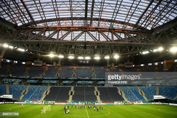 This photo shows a general view of the stadium as France's players take part in a training session at Krestovski Stadium in St Petersbourg on March...