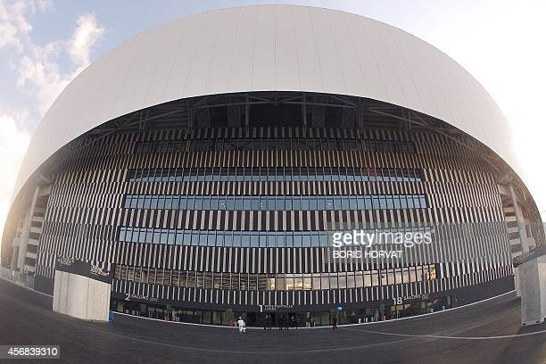 This photo shows a general view outside the Stade Velodrome stadium in Marseille on October 8 2014 The Stade Velodrome which houses the French League...