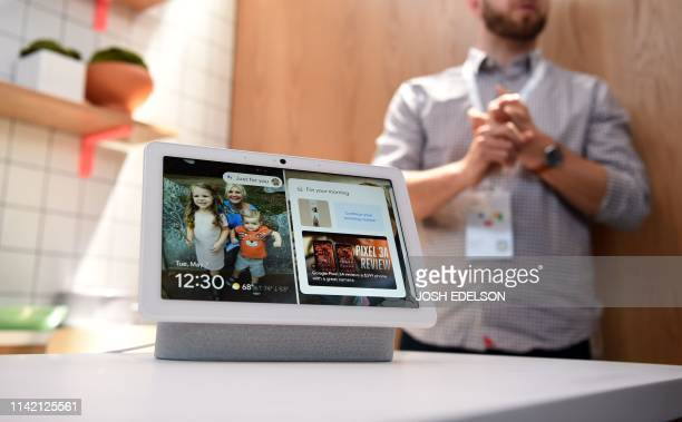 This photo shows a new Google Nest Hub Max on display during the Google I/O conference at Shoreline Amphitheatre in Mountain View California on May 7...