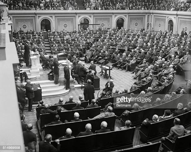 This photo shows a scene of the opening session of the 69th Congress in the House of Representatives where Nicholas Longworth of Ohio was elected...