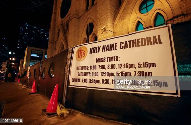 This photo shows a sign outside the Holy Name Cathedral in Chicago on December 19 2018 Almost 700 clergy in Illinois have been accused of child...
