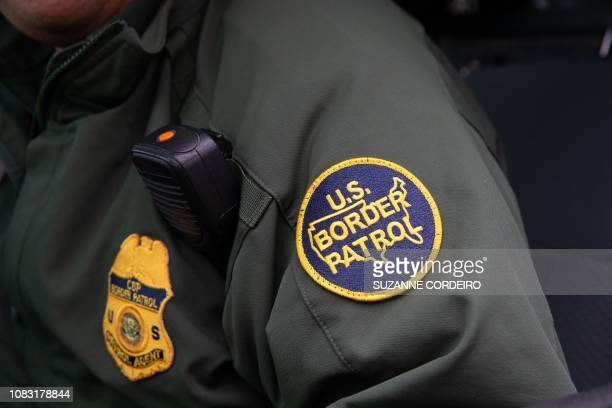 This photo shows a US Border Patrol patch on a border agent's uniform in McAllen, Texas, on January 15, 2019.