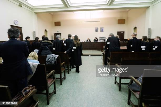 This photo shows a view of the courtroom during the first session of the 2013 Brussels Airport diamond heist case at the Brussels criminal court on...