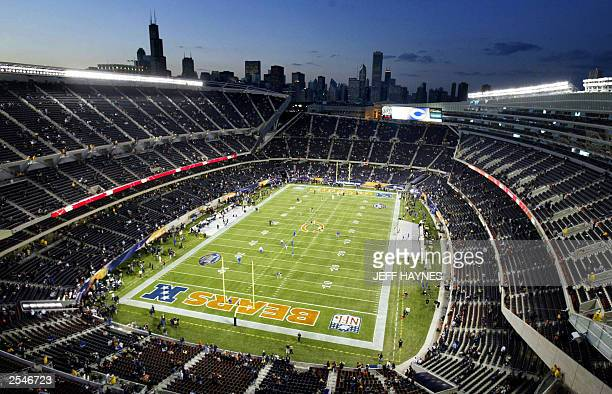 This photo shows a view of the newly renovated Soldier Field the home of the NFL's Chicago Bears with the Chicago skyline in the background 29...