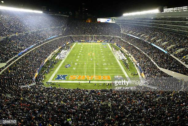 This photo shows a view of the newly renovated Soldier Field the home of the NFL's Chicago Bears 29 September 2003 on opening night of the new...