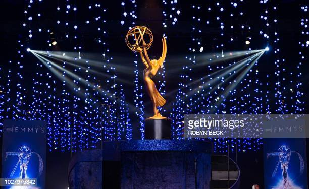 This photo shows an Emmy statuette at the 70th Emmy Awards Governors Ball press preview at LA Live Event Deck on September 6 2018 in Los Angeles...