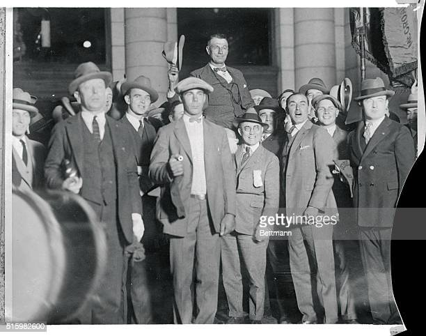 This photo shows Colonel William Mitchell former Air Service Chief being carried on the shoulders of enthusiastic Legionnaires of the Vincent B...