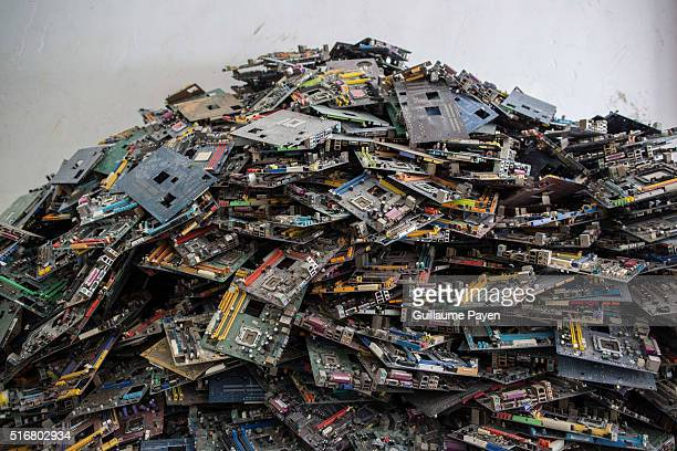 TOWN GUIYU GUANGDONG CHINA This photo shows electronic waste in a recycling factory inside the well know town of Guiyu as business grow up each year...