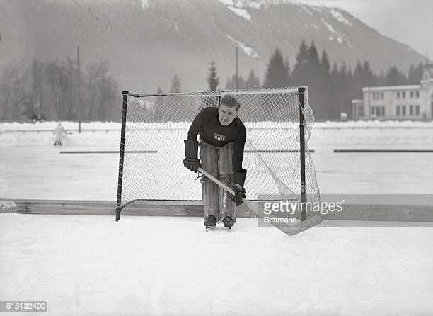 This photo shows goal keeper La Croix during practice at the rink at Chamonix The American team won their first match and opposes France in the next...