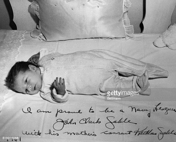 This photo shows John Clark Gable the 21 day old son of the late actor He is now a member of the Navy League an organization in which his father took...