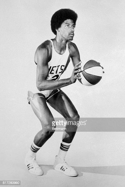 This photo shows Julius Erving close up and poised in uniform