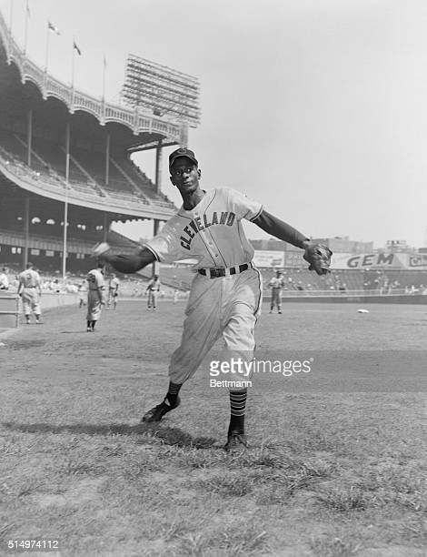 This photo shows Satchel Paige of the Cleveland Indians in uniform.
