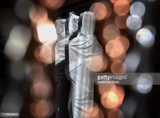 TOPSHOT This photo shows signs shaped like Oscars statuettes on the red carpet area as preparations for the 91st Academy Awards take place in...