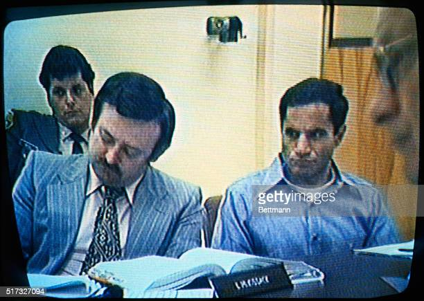 This photo shows Sirhan Sirhan and his attorney Larry McKissack sitting in courtroom