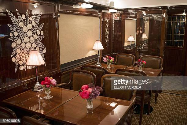 This photo shows tables during the inauguration of 'La table de l'Orient Express' inside of the Orient Express restaurant car in Paris on april 29...