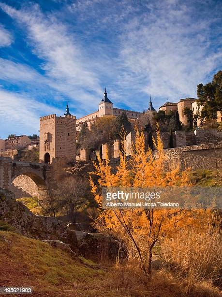 This photo shows the Alcantara Bridge, the walls of Toledo and stone fortification of the Alcazar. Aldo there is a red leaves tree compliting the...