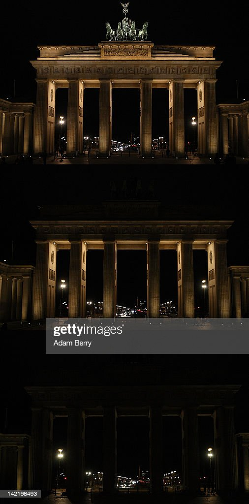 This photo shows the Brandenburg Gate in three stages of becoming unilluminated during Earth Hour 2012 on March 31, 2012 in Berlin, Germany. According to organisers the biggest ever Earth Hour has participants including individuals, companies and landmarks in 147 countries and over 5,000 cities, agreeing to switch off their lights for one hour at 8:30pm. The Brandenburg Gate in Berlin, the Eiffel Tower in Paris, Big Ben Clock Tower in London, the Christ the Redeemer statue in Rio de Janeiro and the Empire State Building in New York are among the monuments whose operators have agreed to participate in the demonstration.