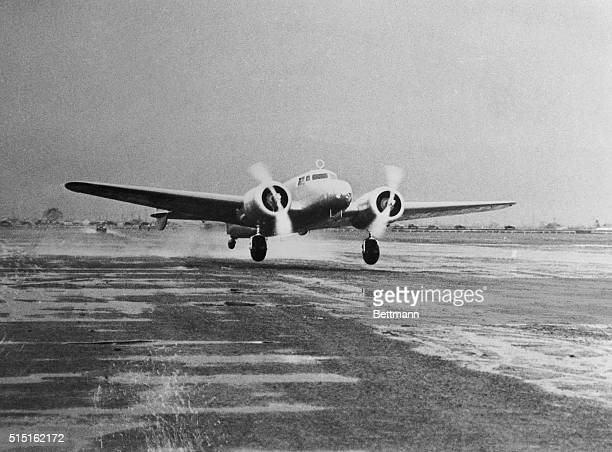 This photo shows the giant Lockheed Electra Amelia Earhart's 'Flying Laboratory' as the ship took off from Oakland Airport at Alameda California on...