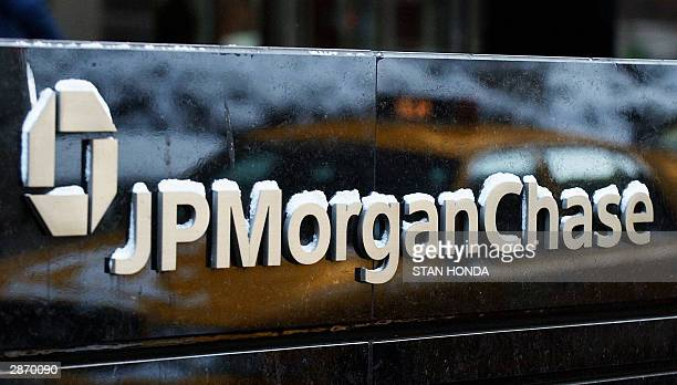 This photo shows the logo of J.P. Morgan Chase company, 15 January in New York. J.P. Morgan Chase merged with Bank One in a 58 million USD deal that...