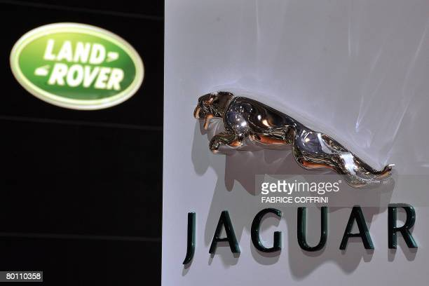 This photo shows the logos of the British brands Janguar and Land Rover pictured at the Geneva International Motor Show on March 4 2008 in Geneva...