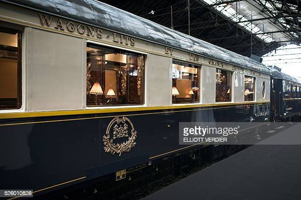 This photo shows the old Orient Express logo as the train is standing at the plateform during the inauguration of 'La table de l'Orient Express'...