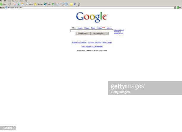 UNDATED This photo shows the popular web search engine Google The Wall Street Journal reported on April 23 2004 that Google has imminent plans to...