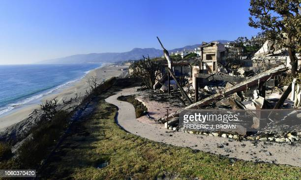 This photo shows the remains of a beachside luxury home along the Pacific Coast Highway community of Point Dume in Malibu California on November 11...