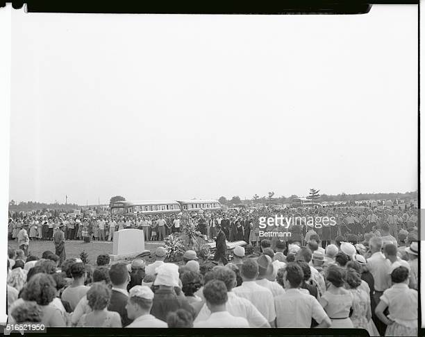This photo shows the Rosenberg funeral It is a general view of services for the executed Julius and Ethel Rosenberg shown at gravesite in the...