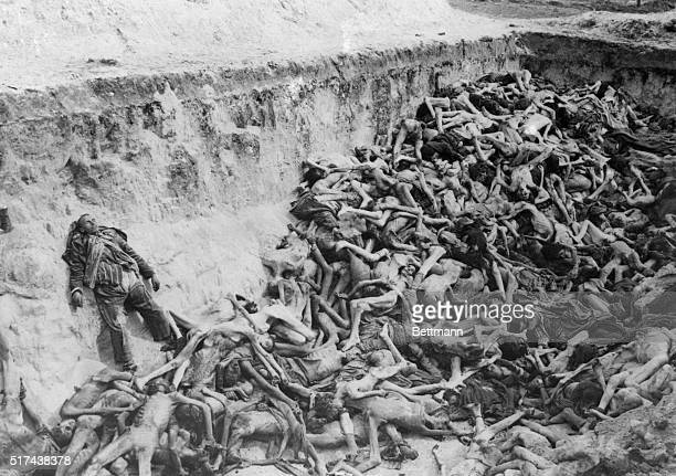 This photo shows the uncovered Communal Graves at a German concentration camp.