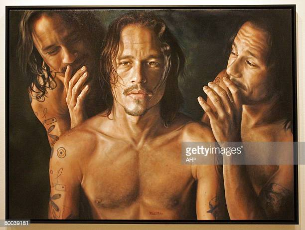 This photo shows Vincent Fantauzzo's painting titled 'Heath', of the late Australian actor Heath Ledger, as it is exhibited at Sydney's Art Gallery...
