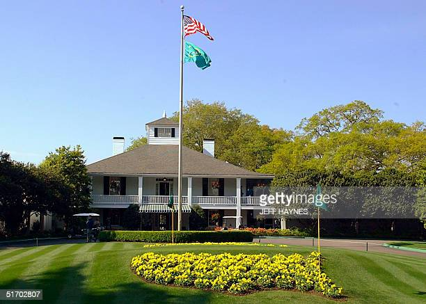 This photo taken 08 April 2002 shows a general view of the main Club House at the Augusta National Golf Course in Augusta GA before the practice...