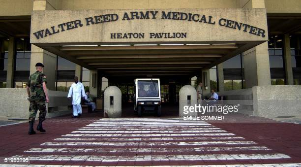 This photo taken 09 July 2001 shows the main entrance of Walter Reed Army Medical Center in Washington DC Bolivian President General Hugo Banzer...