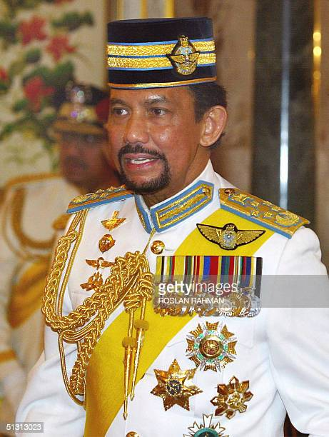 This photo taken 09 September 2004 shows Bruneian Sultan Hassanal Bolkiah at his son's Crown Prince AlMuhtadee Billah Bolkiah wedding ceremony in...