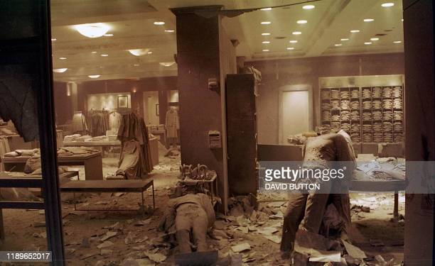 This photo taken 11 September 2001 shows mannequins on the floor of the Brooks Brothers' shop in New York near the World Trade Center after the twin...
