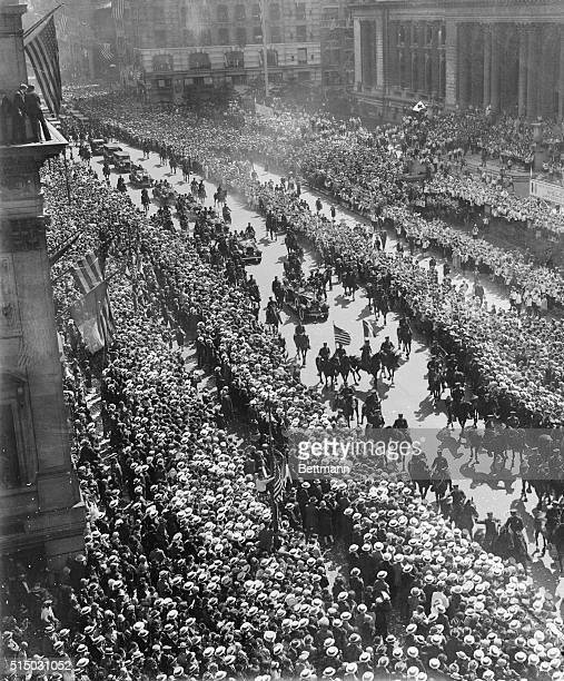 This photo taken at fifth Avenue and Fortysecond Street New York City shows a general view of the procession in the parade of welcome tendered...