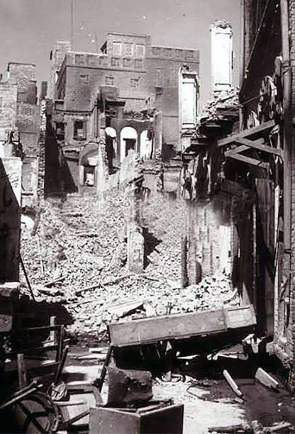 This photo taken in August 1947 shows a destroyed building in the Katra Jaimal Singh area of Amritsar during unrest following the Partition of India..