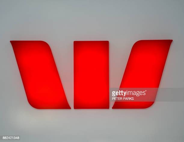 This photo taken in Sydney on November 30 2017 show the logo of Westpac Bank one of the 'big four' Australian banks A wideranging inquiry into the...