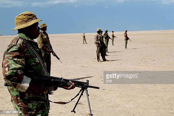 This photo taken May 3 2011 shows Kenyan security personnel on high alert at Todonyang along the KenyaEthiopia border following attacks on scores of...