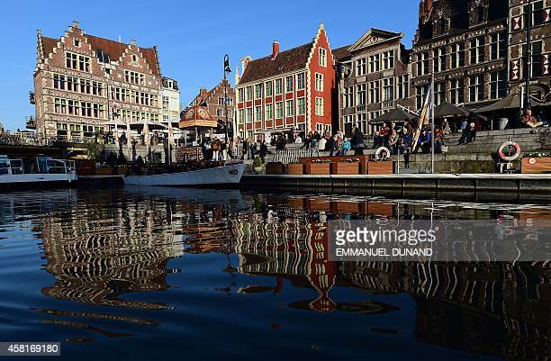 This photo taken October 30 2014 shows a view of Ghent's historical center in Ghent Belgium Ghent is the capital and the largest city of the East...