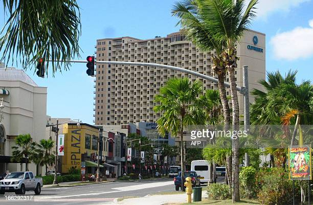 This photo taken on April 11 2013 shows the Tumon tourist district in Hagatna the capital of Guam the US territory in the western Pacific Guam has...