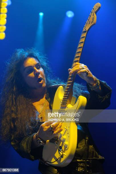 This photo taken on April 12 2017 shows Swedish guitarist Yngwie Malmsteen playing with Generation Axe A Night of Guitars during their Asian tour at...