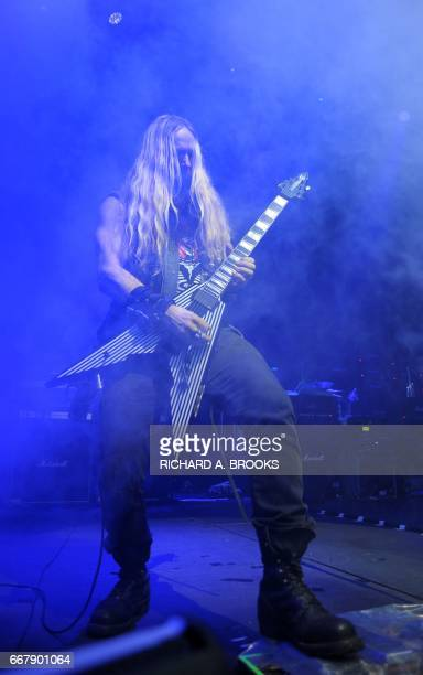 This photo taken on April 12 2017 shows US guitarist Zakk Wylde playing with Generation Axe A Night of Guitars during their Asian tour at Star Hall...