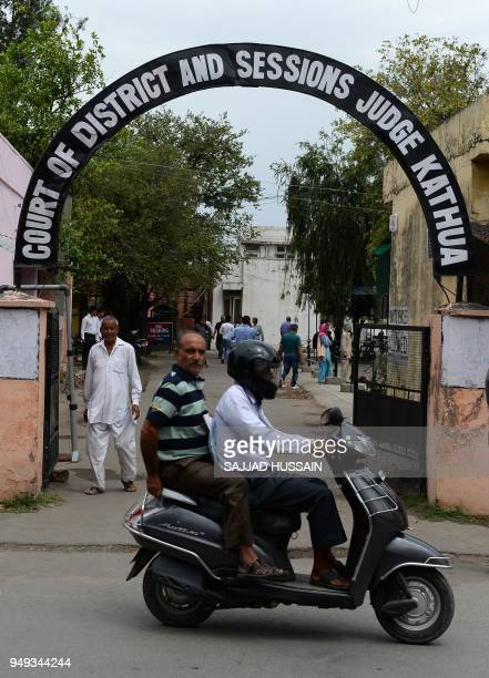 This photo taken on April 20 2018 shows the entrance of the district court complex in Kathua district of Jammu and Kashmir state The release of...