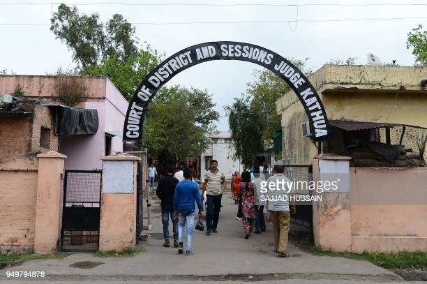 This photo taken on April 20 2018 shows the entrance of the district court complex in Kathua district of Jammu and Kashmir state The internet is cut...