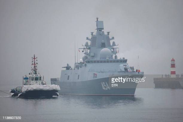 This photo taken on April 21 2019 shows the Russian missile frigate Admiral Gorshkov arriving in Qingdao in China's eastern Shandong province to...