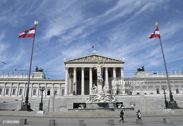 This photo taken on April 22 2015 shows a rooftop of Austria's Parliament in Vienna Austrian lawmakers on Wednesday condemned as 'genocide' for the...