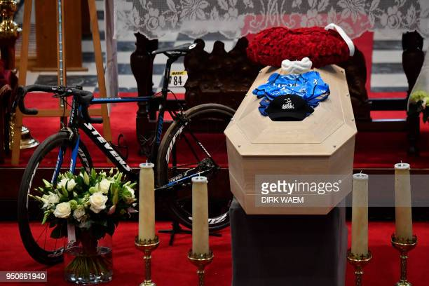 This photo taken on April 24 2018 shows the casket and decorated altar area in the church for the funeral ceremony for Belgian cyclist Michael...