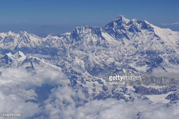 This photo taken on April 27 2019 shows an aerial view of Mount Everest taken during a flight from Nepal to Bhutan