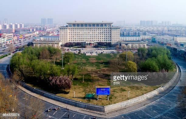 This photo taken on April 3 2017 shows the office building of Party and Government Affairs of Xiong County in Baoding north China's Hebei province...